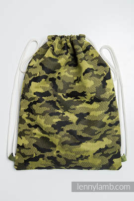 Sackpack made of wrap fabric (100% cotton) - GREEN CAMO - standard size 32cmx43cm