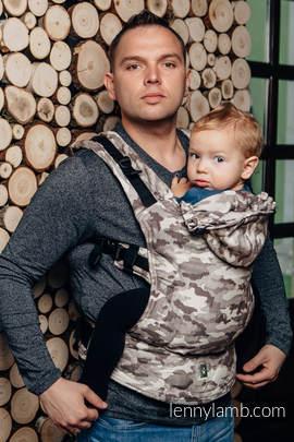 Nosidełko Ergonomiczne z tkaniny żakardowej 100% bawełna, Baby Size, BEŻOWE MORO - Druga Generacja