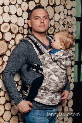 Nosidełko Ergonomiczne z tkaniny żakardowej 100% bawełna , Toddler Size, BEŻOWE MORO - Druga Generacja