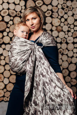 Ringsling, Jacquard Weave (100% cotton) - with gathered shoulder - BEIGE CAMO (grade B)