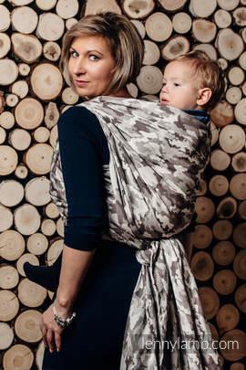 Żakardowa chusta do noszenia dzieci, bawełna - BEŻOWE MORO - rozmiar XL