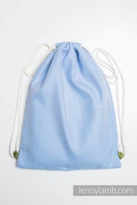 Sackpack made of wrap fabric (100% cotton) - LITTLE HERRINGBONE BLUE  - standard size 32cmx43cm