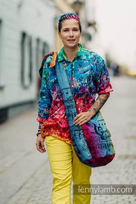 Hobo Bag made of woven fabric, 100% cotton - SYMPHONY RAINBOW DARK