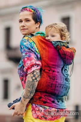 Nosidełko Ergonomiczne z tkaniny żakardowej 100% bawełna , Toddler Size, SYMFONIA TĘCZOWA DARK - Druga Generacja