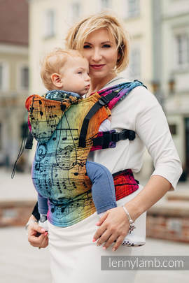 Nosidełko Ergonomiczne z tkaniny żakardowej 100% bawełna , Baby Size, SYMFONIA TĘCZOWA DARK - Druga Generacja