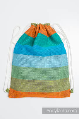 Sackpack made of wrap fabric (100% cotton) - LITTLE HERRINGBONE LANTANA - standard size 32cmx43cm