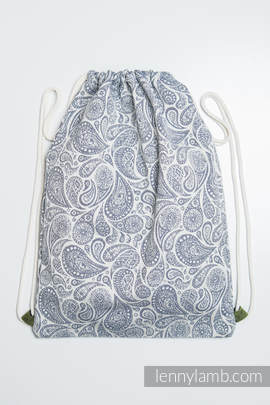Sackpack made of wrap fabric (100% cotton) - PAISLEY NAVY BLUE & CREAM - standard size 32cmx43cm
