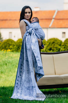 Żakardowa chusta do noszenia dzieci, 60% Bawełna 28% Len 12% Jedwab Tussah - KRÓLEWSKA SYMFONIA - rozmiar L (drugi gatunek)