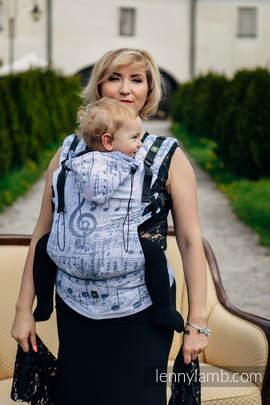 Nosidełko Ergonomiczne z tkaniny żakardowej 60% Bawełna 28% Len 12% Jedwab Tussah, Baby Size, KRÓLEWSKA SYMFONIA, Druga Generacja