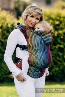Nosidełko Ergonomiczne z tkaniny żakardowej 100% bawełna , Toddler Size, LITTLE LOVE - TĘCZA DARK, Druga Generacja