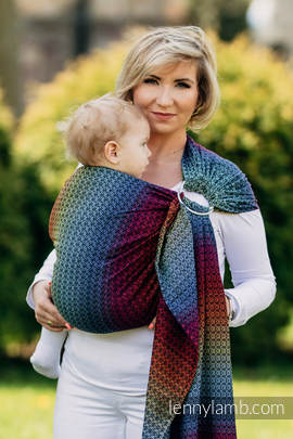 Ringsling, Jacquard Weave (100% cotton), with gathered shoulder - LITTLE LOVE - RAINBOW DARK (grade B)