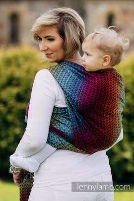Baby Wrap, Jacquard Weave (100% cotton) - LITTLE LOVE - RAINBOW DARK - size S (grade B)