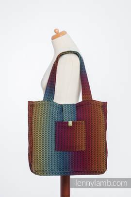Torba na ramię z materiału chustowego, (100% bawełna) - LITTLE LOVE - TĘCZA DARK - uniwersalny rozmiar 37cmx37cm