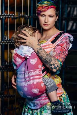 Nosidełko Ergonomiczne z tkaniny żakardowej 100% bawełna , Toddler Size, TĘCZOWA KORONKA - Druga Generacja