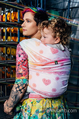 Baby Wrap, Jacquard Weave (100% cotton) - RAINBOW LACE - size XS