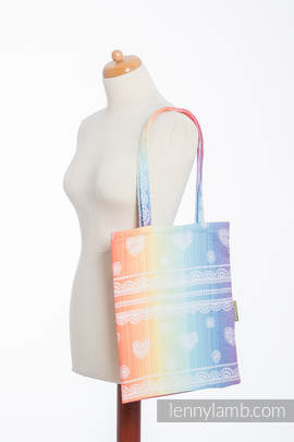 Shopping bag made of wrap fabric (100% cotton) - RAINBOW LACE (grade B)