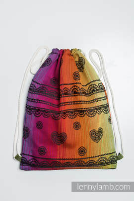 Sackpack made of wrap fabric (100% cotton) - RAINBOW LACE DARK - standard size 32cmx43cm
