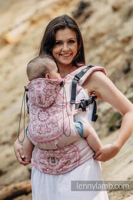 Nosidełko Ergonomiczne z tkaniny żakardowej 100% bawełna , Toddler Size, PIASKOWE MUSZELKI - Druga Generacja