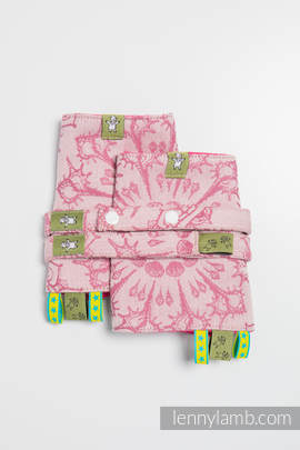 Drool Pads & Reach Straps Set, (100% cotton) - SANDY SHELLS