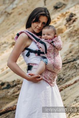Nosidełko Ergonomiczne z tkaniny żakardowej 100% bawełna , Baby Size, PIASKOWE MUSZELKI - Druga Generacja