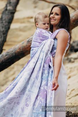 Baby Wrap, Jacquard Weave (60% cotton, 40% linen) - DRAGONFLY LAVENDER - size XS (grade B)
