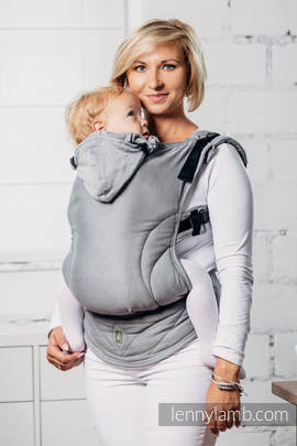 Basic Line Ergonomic Carrier - CALCITE, Toddler Size, satin weave 100% cotton - Second Generation