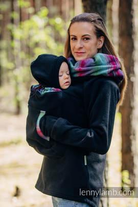 Polarowa bluza do noszenia dzieci 2.0 - rozmiar 6XL - czarna z Małą Jodełką Impresją Dark
