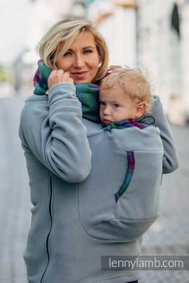Fleece Babywearing Sweatshirt 2.0 - size XXL - grey with Little Herringbone Impression Dark