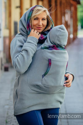 Fleece Babywearing Sweatshirt 2.0 - size 3XL - grey with Little Herringbone Impression Dark