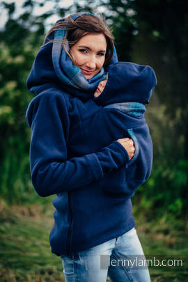 Fleece Babywearing Sweatshirt 2.0 - size 4XL - navy blue with Little Herringbone Illusion