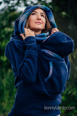 Fleece Babywearing Sweatshirt 2.0 - size 6XL - navy blue with Little Herringbone Illusion
