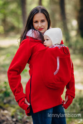 Fleece Babywearing Sweatshirt 2.0 - size 5XL - red with Little Herringbone Elegance