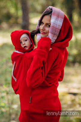 Fleece Babywearing Sweatshirt 2.0 - size 3XL - red with Little Herringbone Elegance