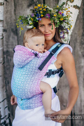 Ergonomic Carrier, Baby Size, jacquard weave 60% cotton, 40% bamboo - wrap conversion from BIG LOVE - WILDFLOWERS, Second Generation (grade B)