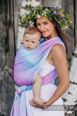 Baby Wrap, Jacquard Weave (60% cotton, 40% bamboo) - BIG LOVE - WILDFLOWERS - size XS (grade B)