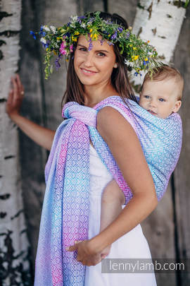 Baby Wrap, Jacquard Weave (60% cotton, 40% bamboo) - BIG LOVE - WILDFLOWERS - size L (grade B)