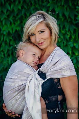 Żakardowa chusta kółkowa do noszenia dzieci, 60% Bawełna 28% Len 12% Jedwab Tussah, ramię bez zakładek - KORONKA SMOKY PINK