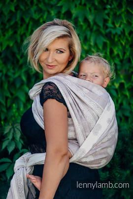Baby Wrap, Jacquard Weave (60% cotton 28% linen 12% tussah silk) - SMOKY PINK LACE - size M