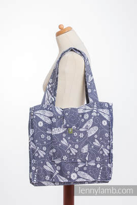Shoulder bag made of wrap fabric (60% cotton, 40% bamboo) - DRAGONFLY WHITE & NAVY BLUE - standard size 37cmx37cm