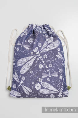 Sackpack made of wrap fabric (60% cotton, 40% bamboo) - DRAGONFLY WHITE & NAVY BLUE - standard size 32cmx43cm