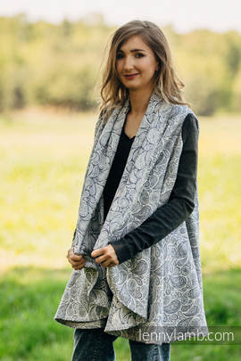 Long Cardigan - size L/XL - Paisley Navy Blue & Cream