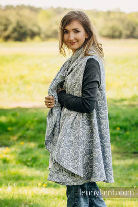 Long Cardigan - size 2XL/3XL - Paisley Navy Blue & Cream