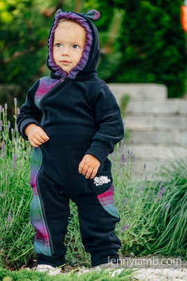Bear Romper - size 86 - black with Little Herringbone Impression Dark