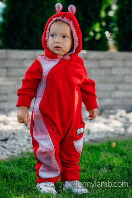 Bear Romper - size 62 - red with Little Herringbone Elegance