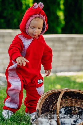 Bear Romper - size 92 - red with Little Herringbone Elegance