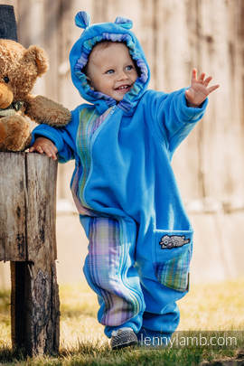 Bear Romper - size 68 - turquoise with Little Herringbone Petrea