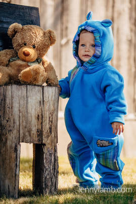 Bear Romper - size 62 - turquoise with Little Herringbone Petrea