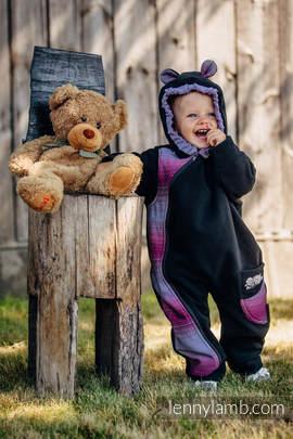 Fleece Babyanzug - Größe 68 - schwarz mit Little Herringbone Inspiration