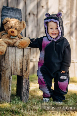 Bear Romper - size 62 - black with Little Herringbone Inspiration