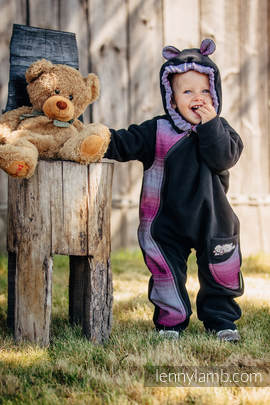 Bear Romper - size 86 - black with Little Herringbone Inspiration